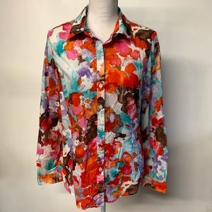 Coldwater Creek Floral Watercolor Button Up Shirt